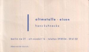 Visitenkarte Altmetall Eisen Kuhnecke 1954